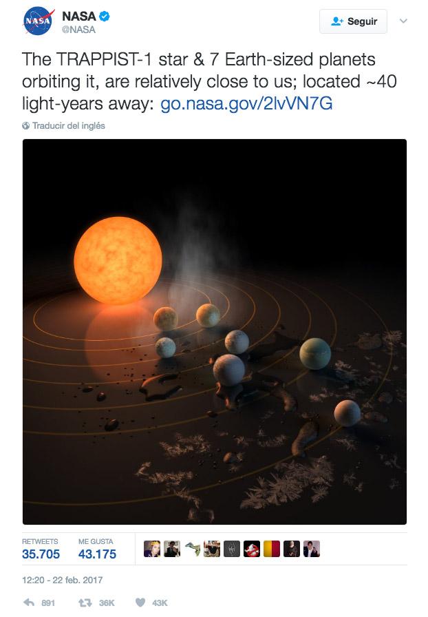 7 exoplanetas fueron descubiertos en Trappist