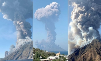 imágenes de la explosión del volcán Estromboli